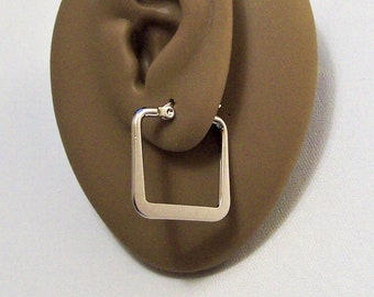 """Flat Band Square Hoop Pierced Earrings Silver Tone 2mm Wide 1"""" 25mm Non Monet Stainless Steel Nickel Free"""