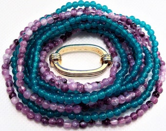Avon Purple White Necklace Vintage Green Blue Lucite Round Seed Beads Two Strands 24 Inches Long