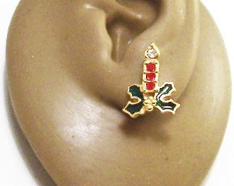 ed60af7ec Avon Christmas Candle Holly Pierced Post Stud Earrings Gold Tone Vintage  1991 Red Clear Crystals Green Leaves Nail Head Accent Stone Flame