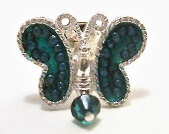 Avon Green Butterfly Tac Pin Brooch Silver Tone Vintage Lucite Bead Round Dangle