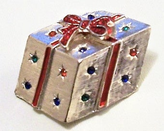 Christmas Gift Box Pin Brooch Silver Tone Vintage Red Green Blue Crystals Tied Bow Ribbon Brushed Line Finish