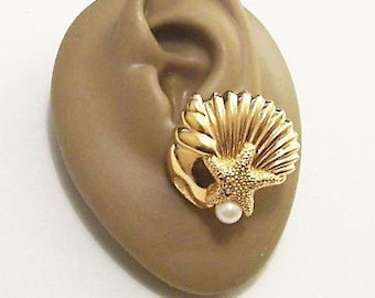 6ab17936a Avon Pearls Sea Shell Starfish Clip On or Pierced Post Stud Earrings Gold  Tone Vintage Large Sea Conch Clam White Round Bead
