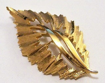 Leaf Swirl Stems Pin Brooch Gold Tone Vintage Large Brush Texture Crimped Edge Raised Long Curls