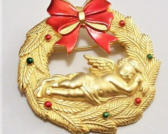 Red Bow Christmas Winged Angel Wreath Pin Brooch JJ Signed Large Round Layered Leaves Red Green Round Nail Heads