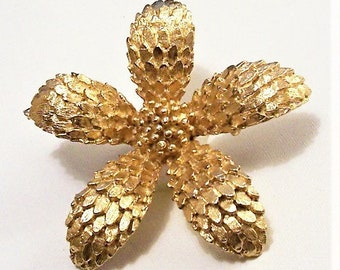 Flower Petals Bead Pin Brooch Gold Tone Vintage Large Five Layered Scale Texture Curved Leaf Raised Accent Nail Head Center