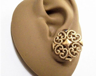 Avon Diamond Scroll Clip On Earrings Gold Tone Vintage Avon 1971 Precious Pretenders Collection Round Frosted Scroll Raised Nail Heads