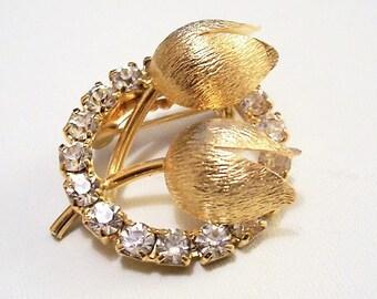 Flower Crystal Pin Brooch Gold Tone Vintage Brushed Split Petal Round Prong Set Clear Stones