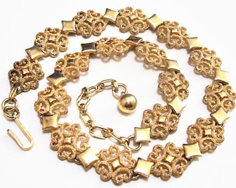 Avon Filigree Scrolls Diamond Necklace Choker Gold Tone Vintage 1971 Precious Pretenders Collection Frosted Scrolls Raised Nail Heads