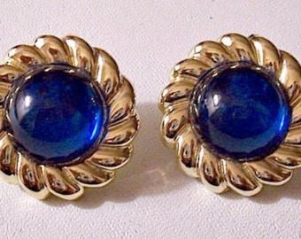 Blue Bead Ribbed Gold Pierced Earrings Discs