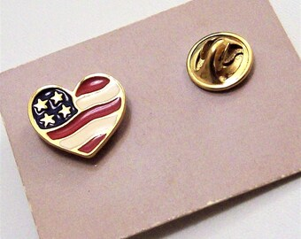 Avon USA American Flag Patriotic Lapel Tac Pin Brooch Gold Tone Vintage Heart Of America 1990 Red White Blue Stars Stripes