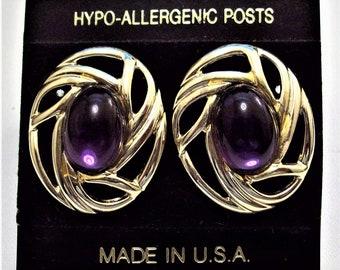 Purple Bead Pierced Post Stud Earrings Gold Tone Vintage Oval Rib Open Slotted Large Discs