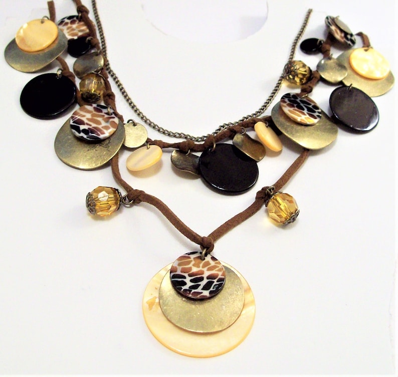 Shells Discs Beads Necklace Gold Tone Vintage Three Strand Suede Cord Adjustable Link Chain Brown Faceted Dangles Round Small Large Coins
