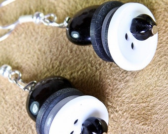 Black and White Stacked Button Handmade Earrings