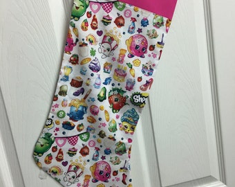 Christmas stocking - Disney shopkins - disney stocking - personalized