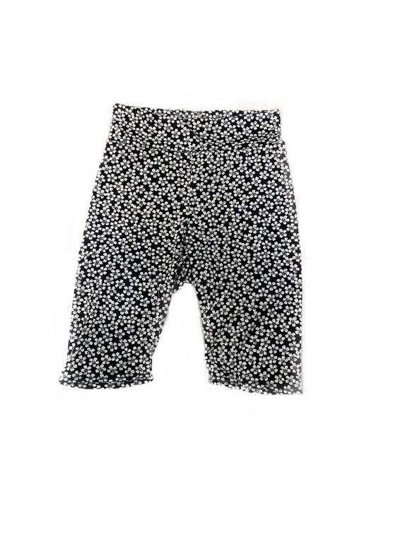 "Black and white Flower printed jersey Knit Biker shorts Small 28""-32"" Medium"