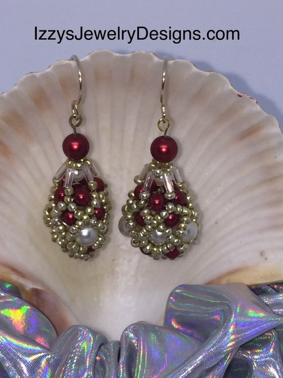 Red, White & Gold beaded Fabergé Egg Earrings Easter Dangle Gold Loops