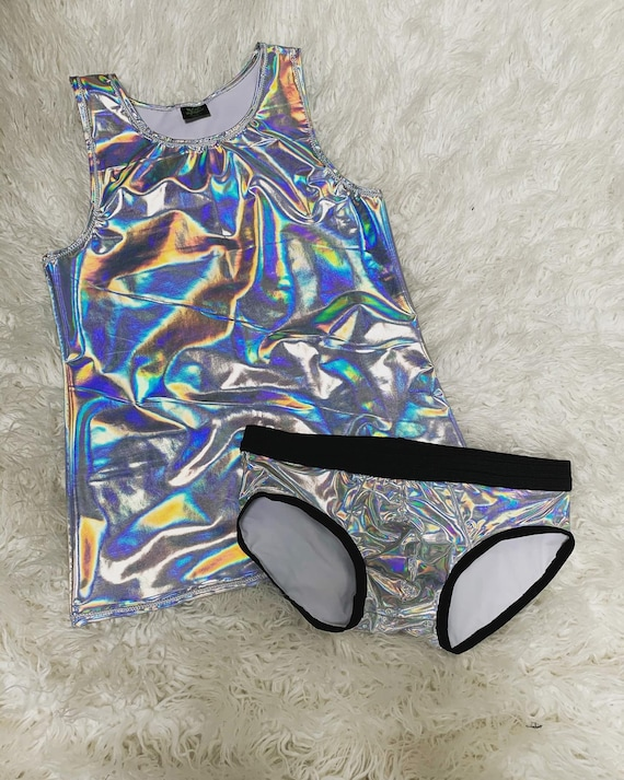 Holographic Masc Lounge Set Includes a Tank top and Undies Size Small/Medium