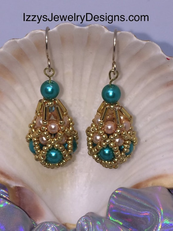 Teal, Peach & Gold beaded Fabergé Egg Earrings Easter Dangle Gold Loops Glass Beads