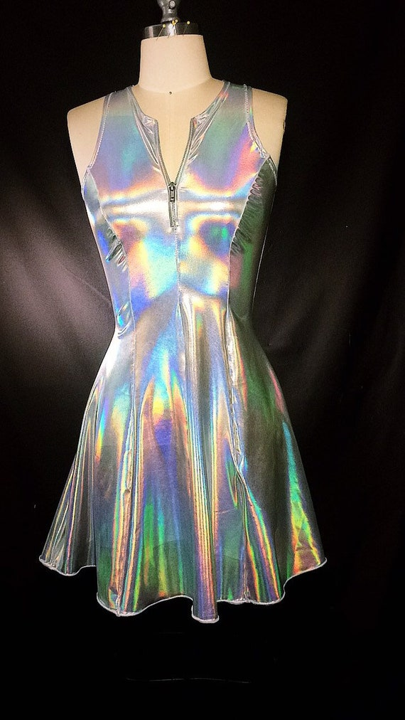Size Medium/Large Outer space holographic halter dress