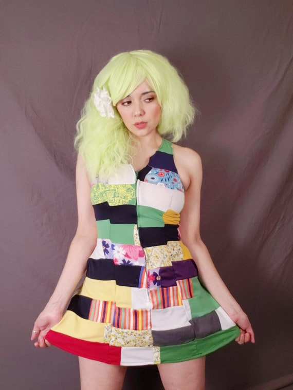 Patchwork Upcycled tshirt dress Mini size XS/S