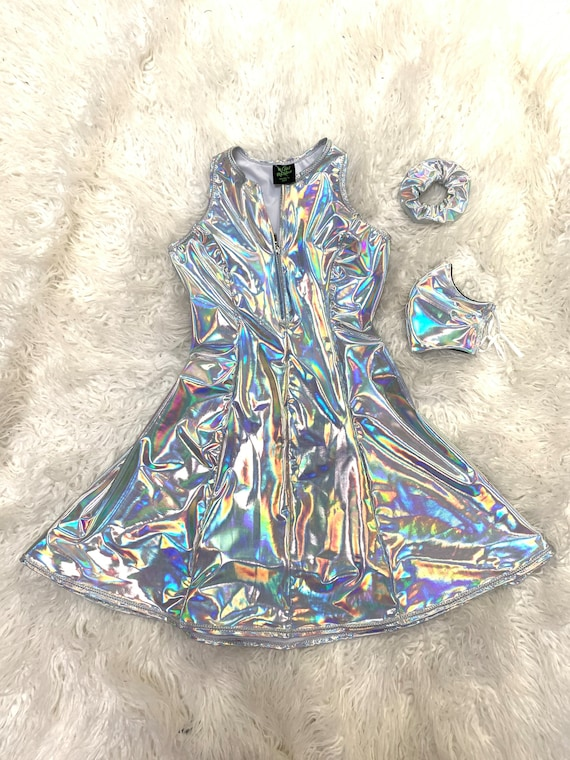 Holographic space Alien Festival Burning man Pride Rainbow Dress ADULT sizing