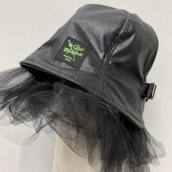 Black Vinyl reversible Checkerboard Bucket Hat with Tulle and Buckle