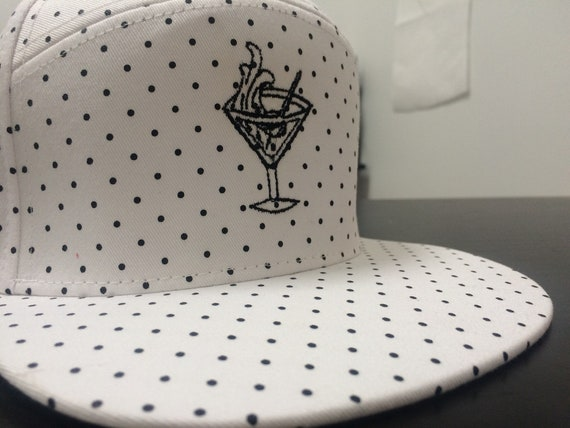 White and Polka Dot Gin Martini Tattoo Hat