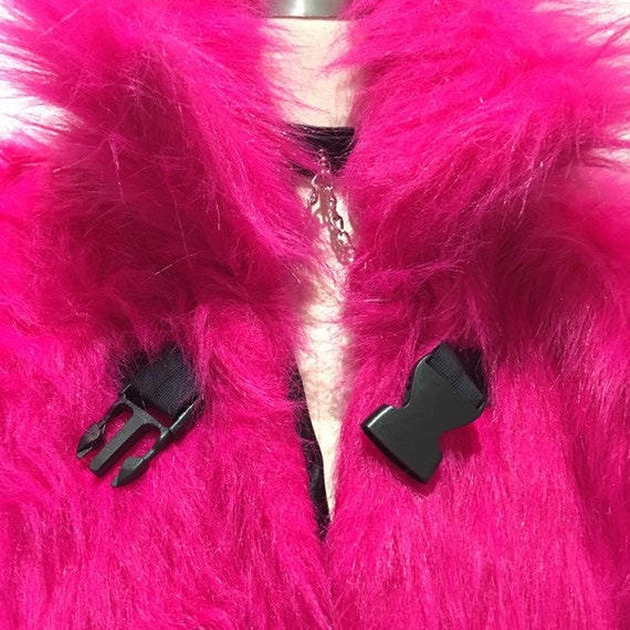 Oversized Hot Pink Faux Fur Coat Jacket quarter sleeve Size XL