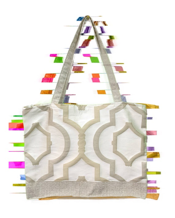 Beige Architectual And floral Tote bag Sustainable Made with Upcycled materials