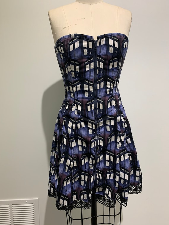 Tardis Police box Dr who Corset dress Size 4 or Small