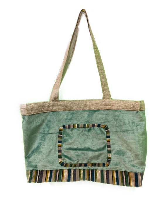 Teal Velour and Striped Tote bag with Tafetta lining Sustainable Made with Upcycled materials