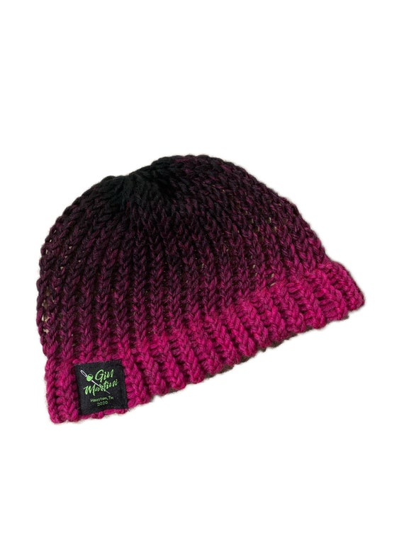 Faded Fuchia Beanie knitted One size Acrylic wool
