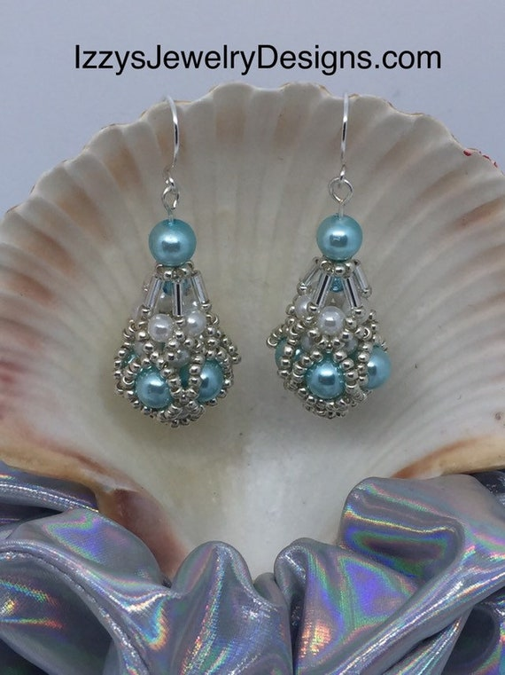 Light blue, Pearl & silver Fabergé Egg Earrings Easter Dangle Silver Loops