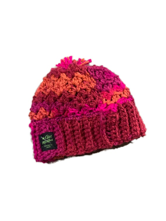 Pink multi Beanie knitted One size Acrylic wool