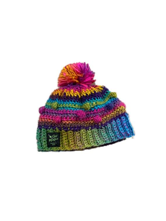 Rainbow Bubble Beanie crochet One size Acrylic wool