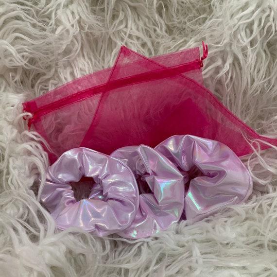"Pink Holographic Scrunchie 7"" elastic wrist size set of 3 bands"