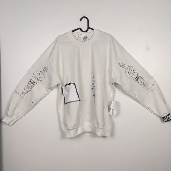 Urban Disciple By Ghoul Boy Screen Printed White Sweater 2/3 Size XLarge