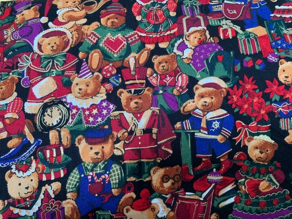 Holiday Bear Figures character Cotton Fabric Piece