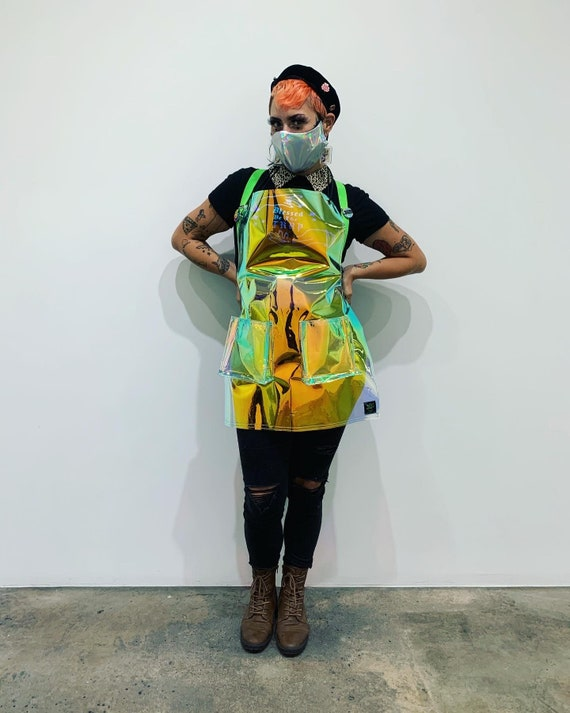 Holographic Salon tattoo Apron color changing Specify Waist size in order 2 deep pockets is around the neck and tie around the waist