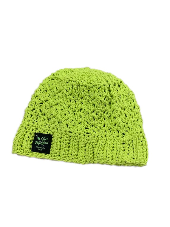 Lime green Cotton Beanie Crochet One size