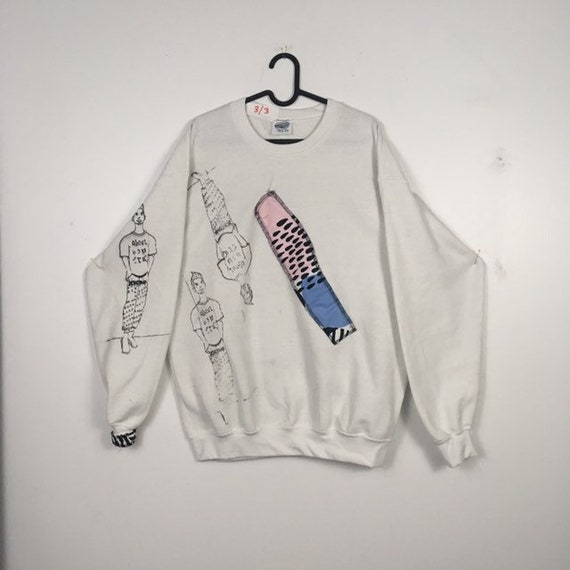 Urban Disciple By Ghoul Boy Screen Printed White Sweater 3/3 Size XLarge