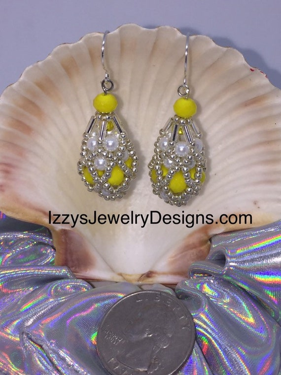 Peeps Yellow and Pearl beaded Fabergé Egg Earrings Easter Dangle silver  Loops Glass Beads