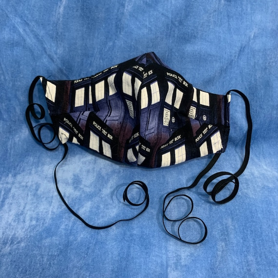 Tardis Dr who blue Facemask Curved with Filter Pocket and Long straps you Tie around your head