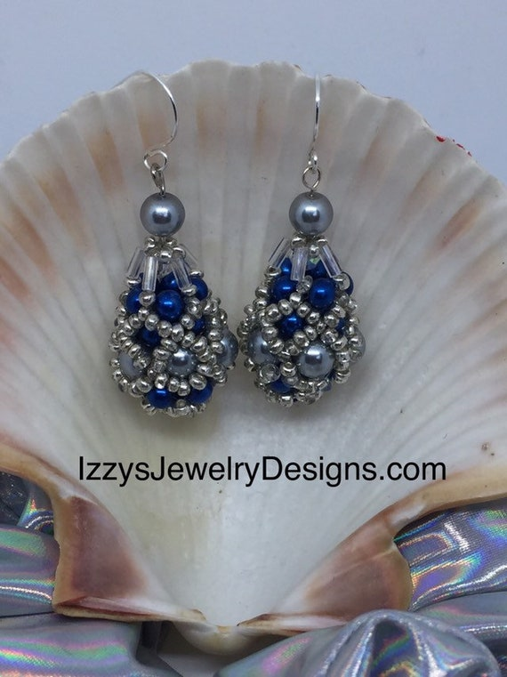 Blue & silver Fabergé Egg Earrings Easter Dangle Silver Loops