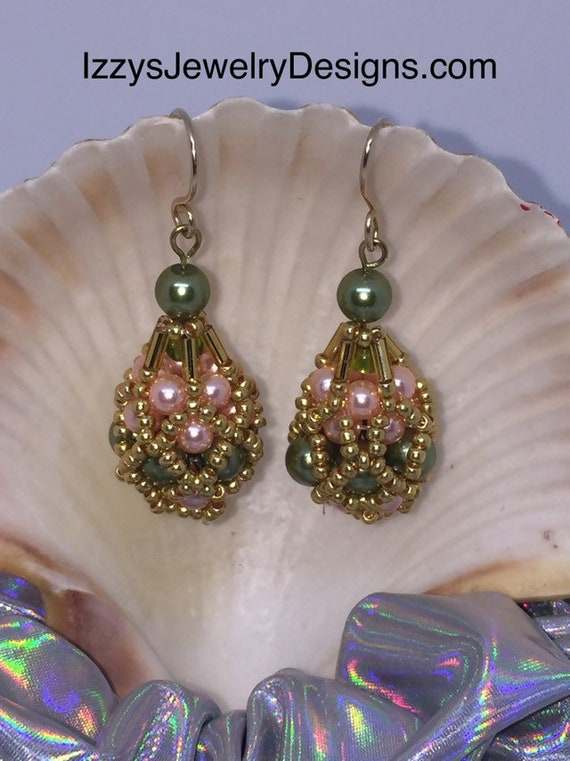 Emerald, light Pink & Gold beaded Fabergé Egg Earrings Easter Dangle Gold Loops