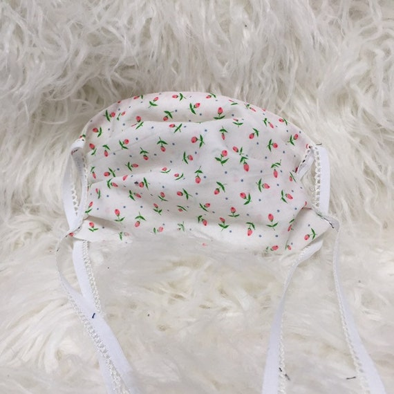 Mini Floral Face Mask Pleated made from soft woven Cotton 100% Fabric Double layered Double elastic Long Straps