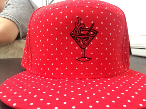 White and Red Polka Dot Gin Martini Tattoo Hat