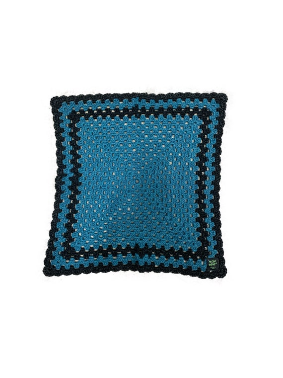 "Black and Blue Crochet Throw 24""X24"""