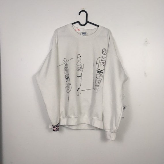 Urban Disciple By Ghoul Boy Screen Printed White Sweater 1/3 Size XLarge