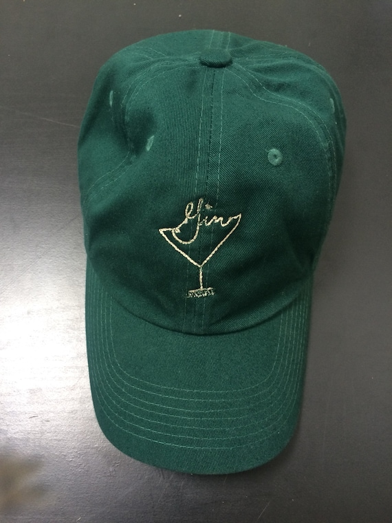 Olive  Green Gin Martini Logo Dad Hat